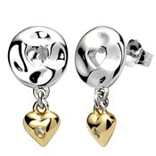 Argento Golden Heart Drop Earrings