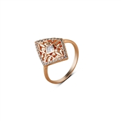 Argento Outlet Rose Gold Ornate Diamond Shape Ring