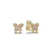 PANDORA 14ct Gold Butterfly Stud Earrings
