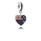 PANDORA New Zealand Heart Flag Pendant Charm