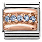 Nomination Rose Gold Light Blue Crystal Charm