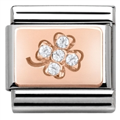 Nomination Rose Gold White Cz Four Leaf Clover