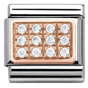 Nomination Rose Gold White Pave CZ Charm