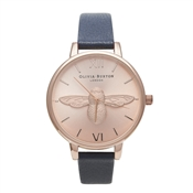 Olivia Burton Animal Motif Moulded Bee Navy and Rose Gold Watch