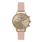 Olivia Burton Midi Chrono Detail Dusty Pink and Gold Watch