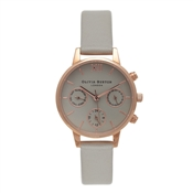Olivia Burton Midi Chrono Detail Grey & Rose Gold Watch