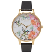 Olivia Burton Painterly Prints Hummingbird Black and Gold Watch
