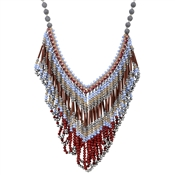 August Woods Outlet  Red Fringe Bead Necklace