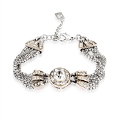 August Woods Society Crystal Pendant Chain Bracelet