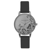 Olivia Burton Animal Motif Butterfly Black and Silver Midi Watch