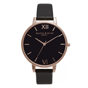 Olivia Burton Black Dial & Rose Gold Watch