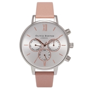 Olivia Burton Chrono Detail Dusty Pink & Silver Watch