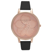Olivia Burton Enchanted Garden 3D Flower Black & Rose Gold Watch