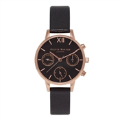 Olivia Burton Chrono Midi Black Dial & Rose Gold Watch