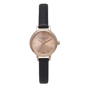 Olivia Burton Mini Dial Black and Rose Gold Watch