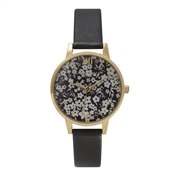 Olivia Burton Monochrome Ditsy Floral Black and Gold Watch