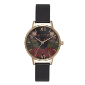 Olivia Burton Oriental Opulence Midi Floral Black and Gold Watch