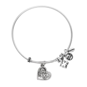 Karma Silver Knotted Heart Charm Bangle