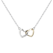 Argento Silver and Gold Interlocking Hearts Necklace