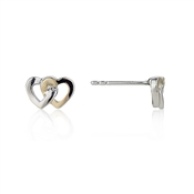 Argento Silver and Gold Interlocking Heart Stud Earrings