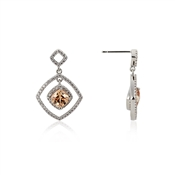 Argento Champagne Crystal Open Square Drop Earrings