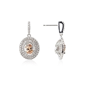 Argento Champagne Oval Halo Crystal Drop Earrings