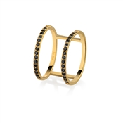 Argento Outlet Gold Double Band Black CZ Ring