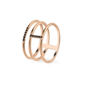 Argento Outlet Rose Gold Simple Treble Band Ring