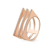 Argento Outlet Rose Gold Treble Band Bars Pave Ring