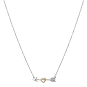 Argento Silver and Gold Heart and Arrow Necklace