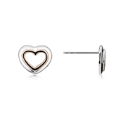 Argento Silver and Rose Gold Double Heart Earrings