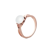 Argento Outlet Rose Gold Crosses Pearl Ring