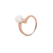 Argento Outlet Rose Gold Open Pearl and Crystal Ring