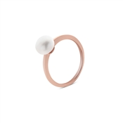 Argento Rose Gold Solitaire Pearl Ring