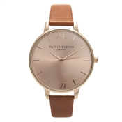 Olivia Burton Big Dial Tan & Rose Gold Watch