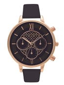 Olivia Burton Chrono Detail Navy Dial and Rose Gold Watch