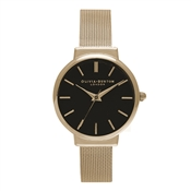 Olivia Burton Hackney Black Dial And Gold Mesh Watch