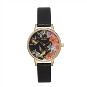 Olivia Burton Hummingbird Black and Gold Watch