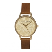 Olivia Burton Paisley Print Camel And Gold Watch