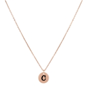 Dirty Ruby Rose Gold Letter C Necklace