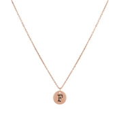 Dirty Ruby Rose Gold Letter F Necklace