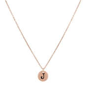 Dirty Ruby Rose Gold Letter J Necklace