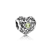 PANDORA August Signature Heart Birthstone Charm