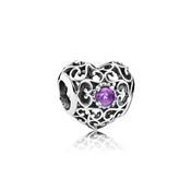 PANDORA February Signature Heart Birthstone Charm