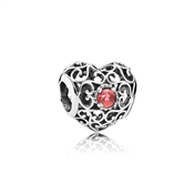 PANDORA January Signature Heart  Birthstone Charm