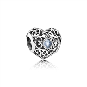 PANDORA March Signature Heart Birthstone Charm