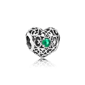 PANDORA May Signature Heart Birthstone Charm
