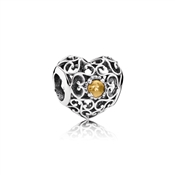 Pandora November Signature Heart Birthstone Charm