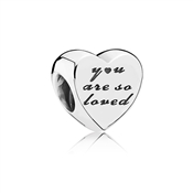PANDORA You Are So Loved Silver Heart Charm