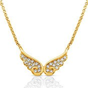 Nomination Angel Gold CZ Double Wing Necklace